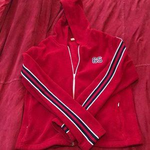 Red Athletic Style Trendy Zipper Hoodie